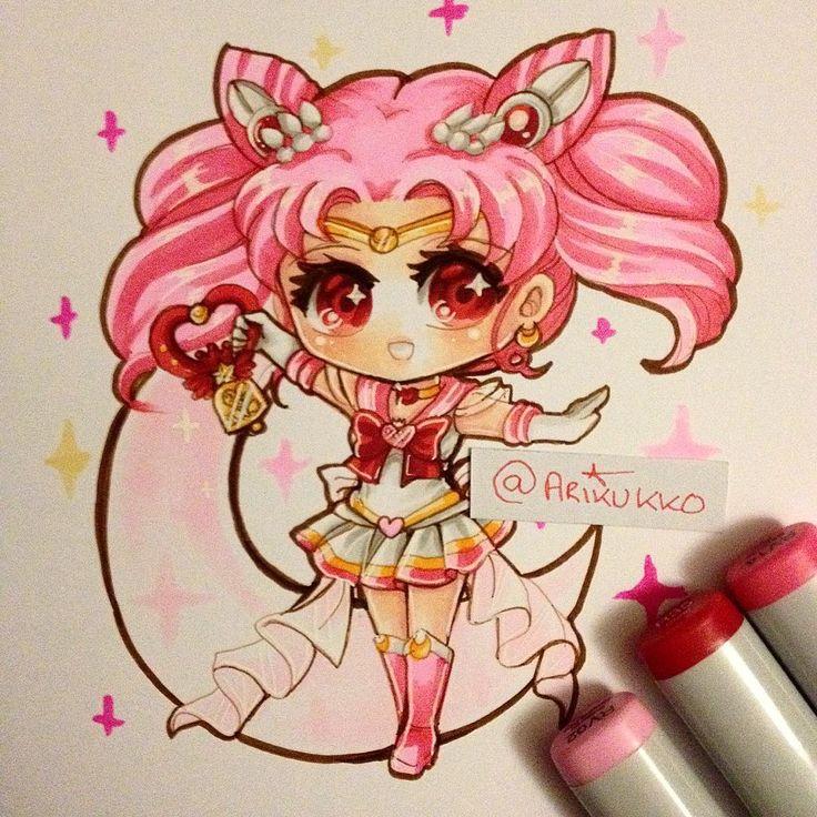 twinkle yell chibi fanart of super sailor chibi moon