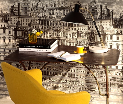 In love with this wallpaper, especially with that pop of yellow! Riflesso by Fornasetti for Cole & Son wallpapers