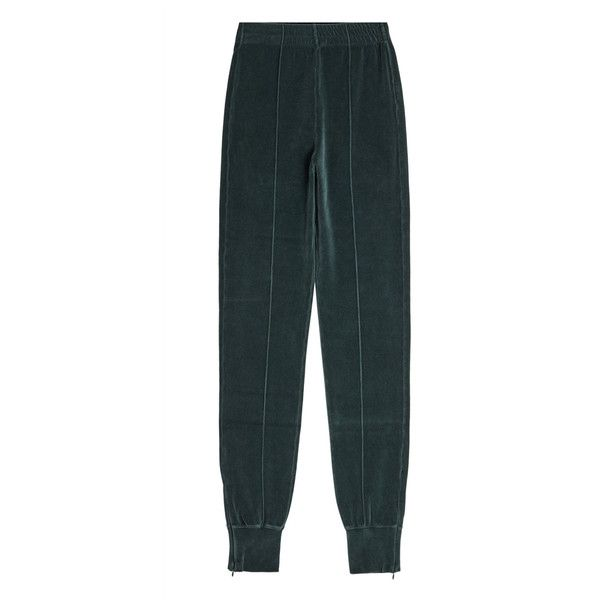 Yeezy Velvet Sweatpants (975 MYR) ❤ liked on Polyvore featuring activewear, activewear pants, green, velvet sweatpants, zippered sweat pants, zipper sweatpants, tapered sweatpants and green sweatpants