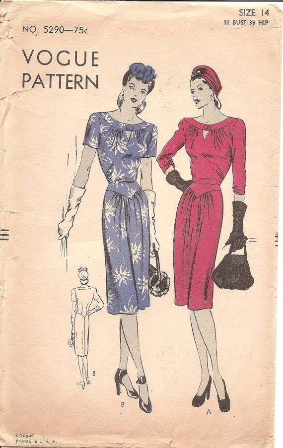 1940s Womens Dress With Keyhole Neck Vogue 5290 Vintage