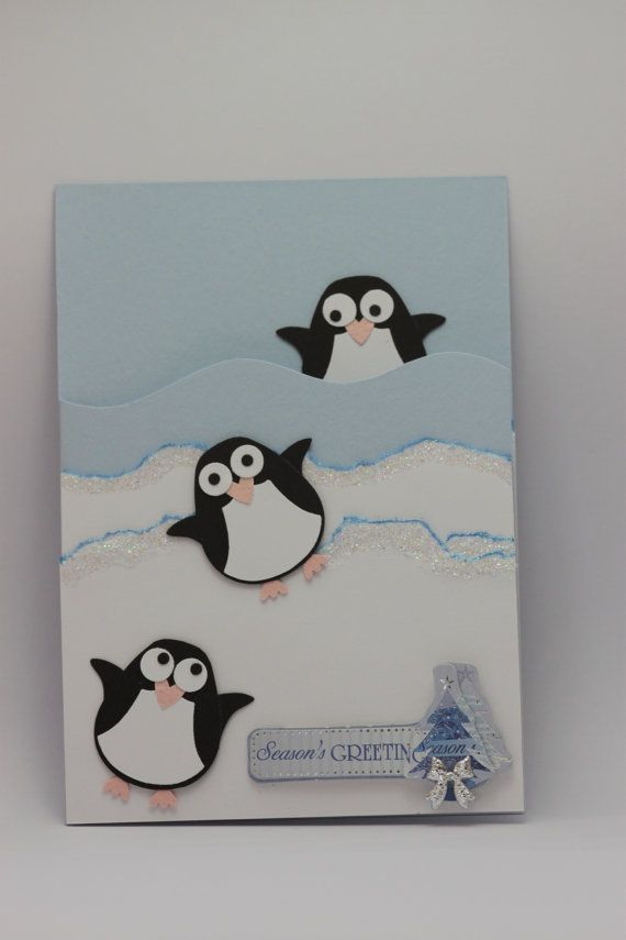 Handmade Stampin' UP Owl punch playful Penguins Christmas card