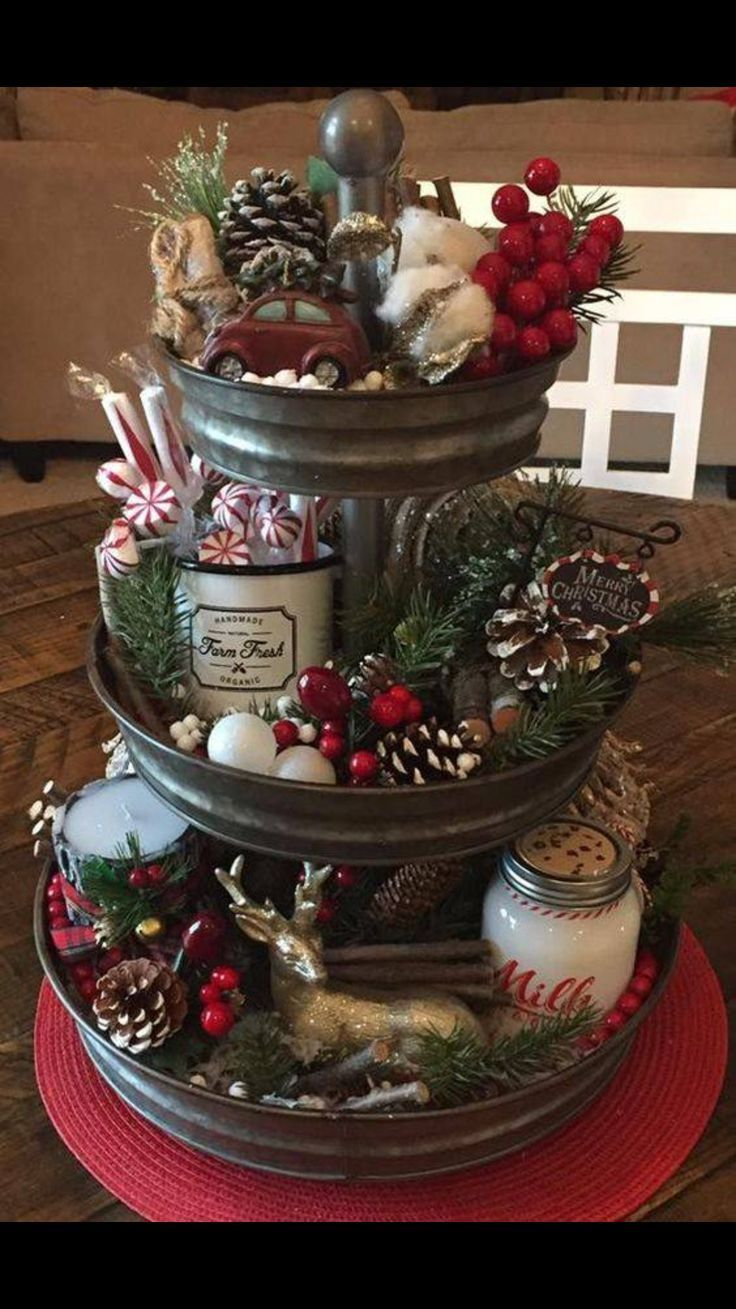 3 Tiered Serving Tray With Christmas Decor Christmas Centerpieces Diy Christmas Decorations Rustic Christmas Centerpieces