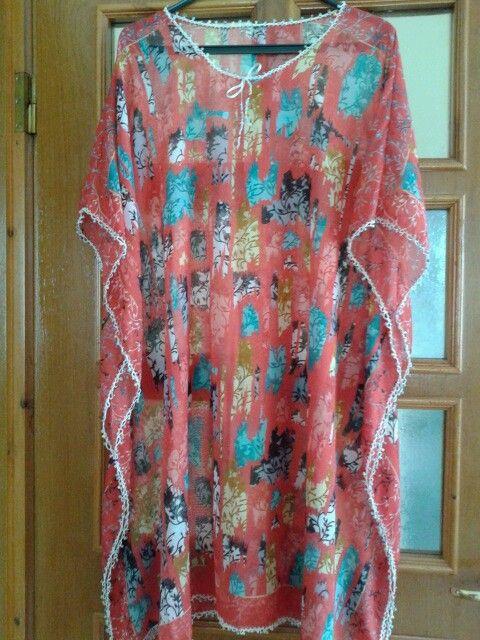 Boncuk oyalı yazlık tülbent elbise