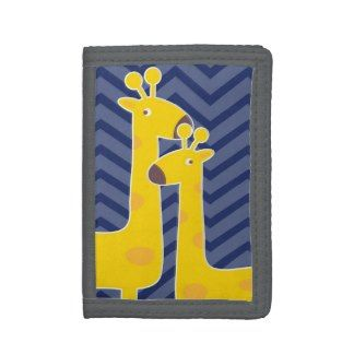 Yellow Giraffe On Zigzag Chevron Blue Trifold Wallet