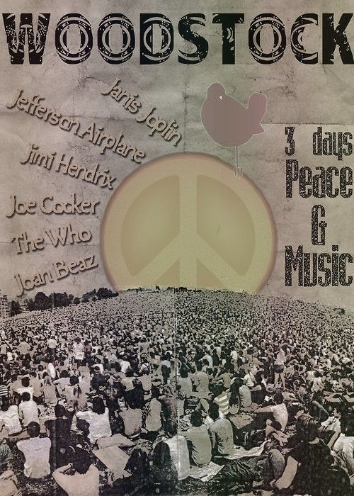 "Woodstock. My Dad was there, not far from the stage. He heard it was supposed to be a ""small festival"" on a farm. So they drove across the country and woke up in the field. So swesome that he was a part of something so truly epic. My own flesh and blood. Peace & love!"