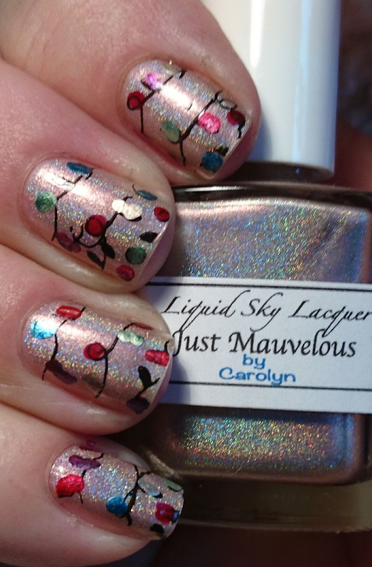 Liquid sky lacquer just mauvelous stamped with christmas lights