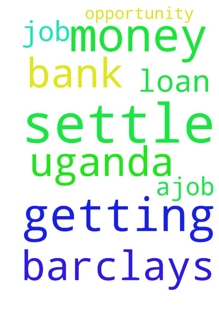job opportunity with Barclays bank uganda and getting money (720,000)to settle m -  please pray for me to get ajob with barclays bank uganda and getting money 720,000 to settle my loan.  Posted at: https://prayerrequest.com/t/khK #pray #prayer #request #prayerrequest