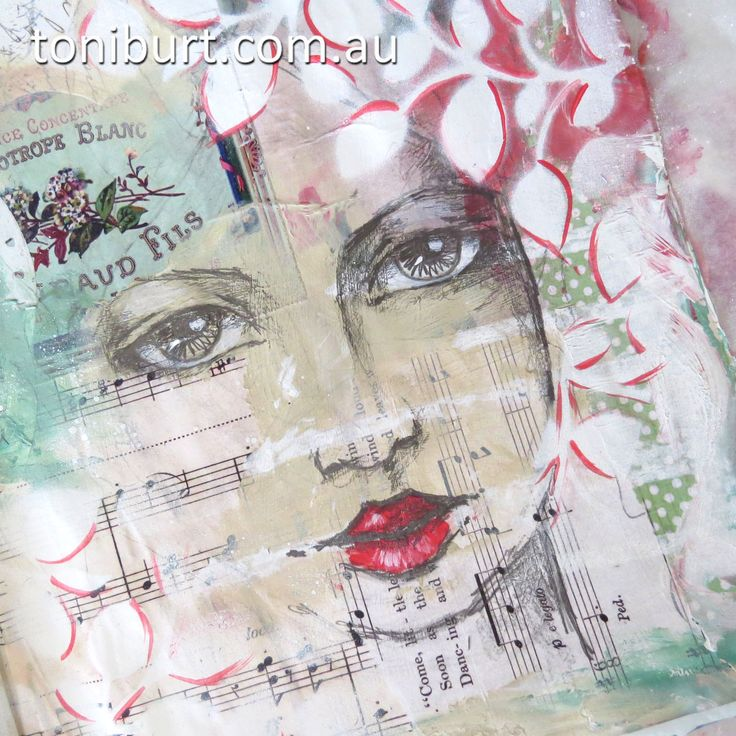 Original pinner sez: She's emerging from the page in my art journal - mixed media work in progress, acrylics, pencil, vintage papers.
