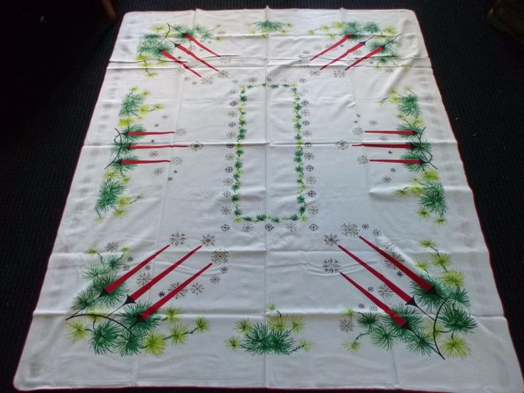 Vtg Mid Century MOD Christmas Holiday Tablecloth Candelabras Snowflakes  53x61