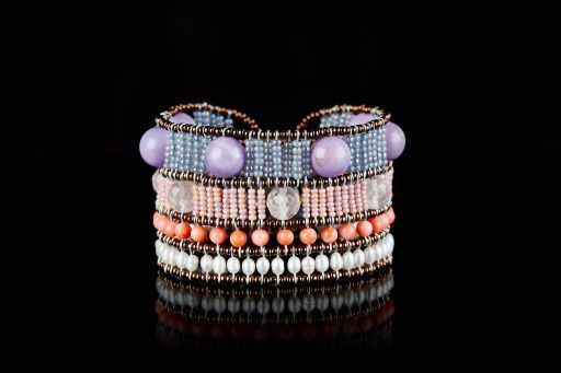 Bracelet with Agate, Flower Agate, Murano glass, Quartz, Sea Bamboo, Pearl and signature silver fastening (#1450).
