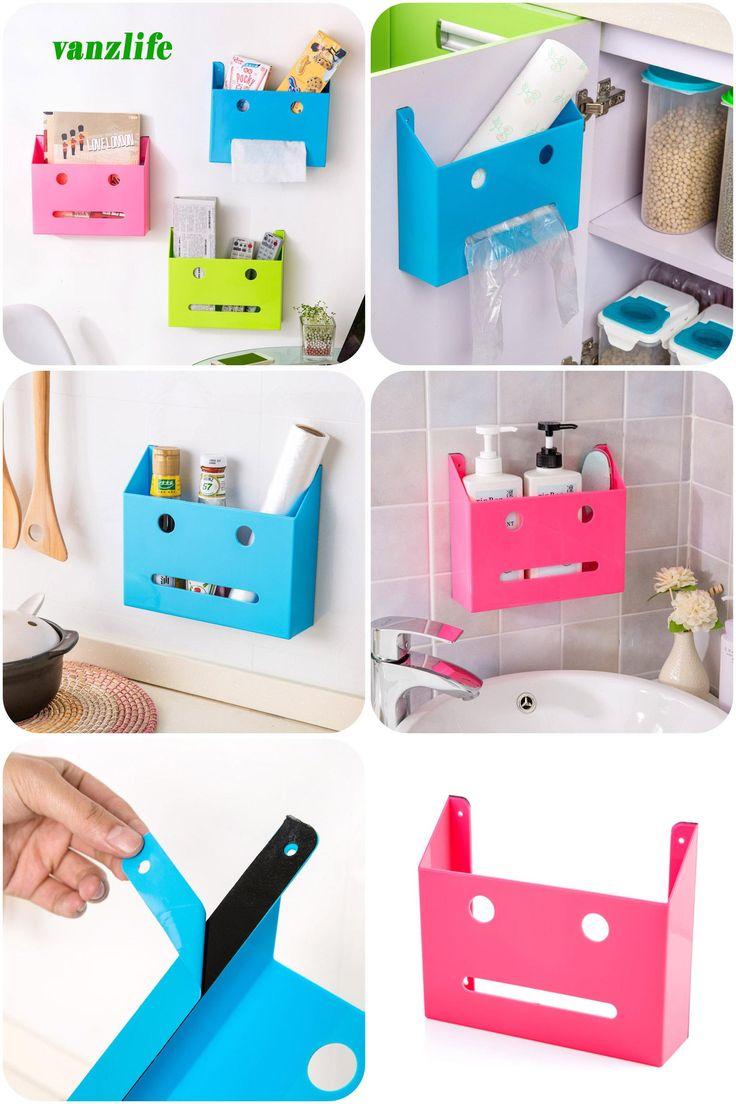 [Visit to Buy] vanzlife self-adhesive wall storage box strong glue kitchen bathroom toilet shelves #Advertisement