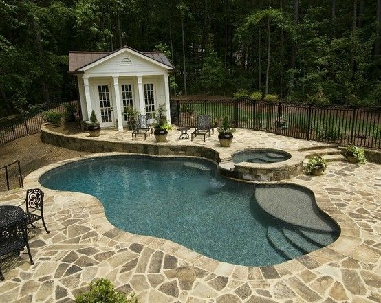 I like the extended first step-  like the color of flag stone around the pool