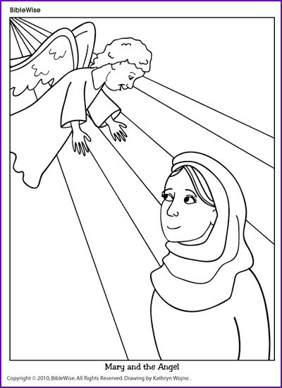 Coloring (Mary and the Angel) - Kids Korner - BibleWise