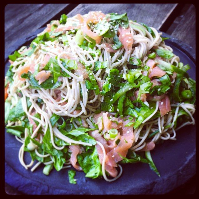 Cold Sesame Soba Noodle Salad With Smoked Salmon, Spinach And Cucumber