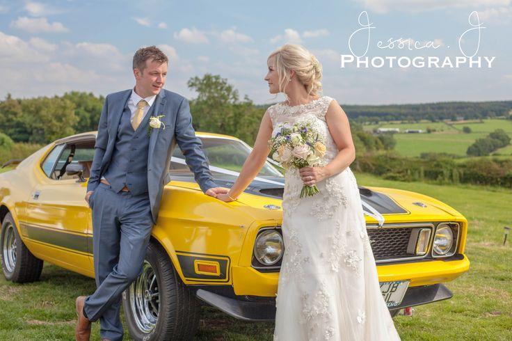 Duncan & Nichola #yorkshire #yorkshirewedding #bride #groom #fordmustang #weddingcar #wedding #weddingdress