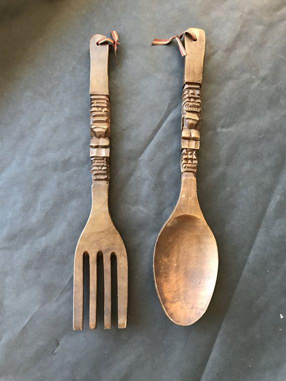 Wall hanging large wood fork and spoon boho by BankandBleeker