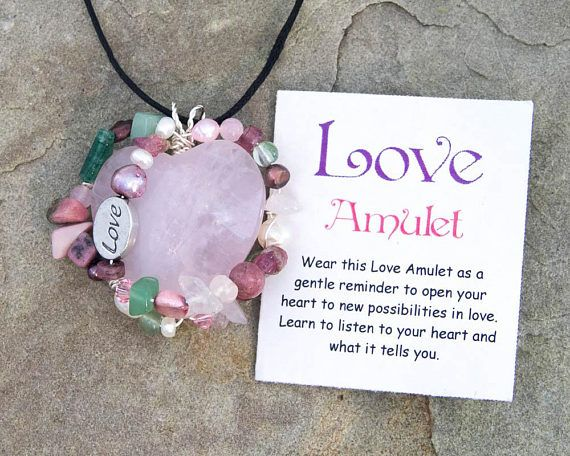 Love Amulet, Wire Wrapped Pendant, Healing Necklace, Rose Quartz, Rhodonite Aventurine Pearls, Moss Agate, Pink Tourmaline, Healing Crystals