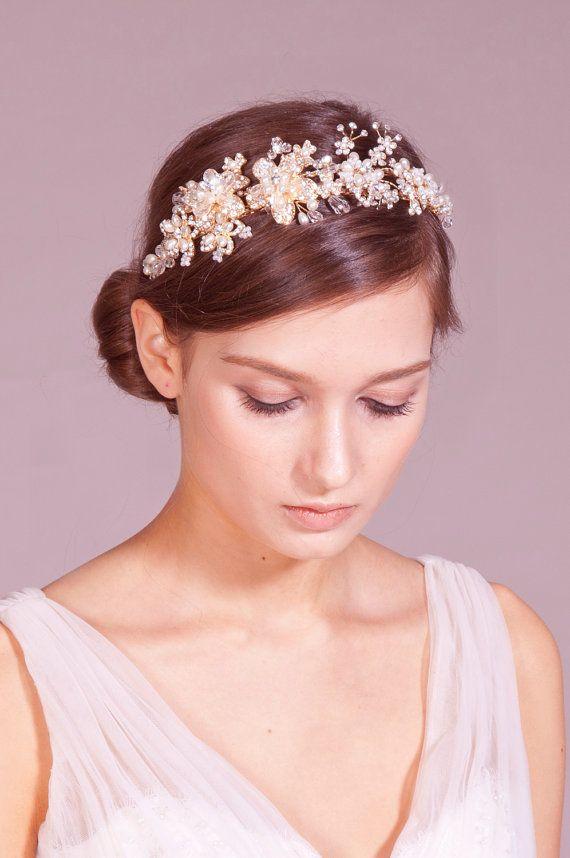 Arianna golden bridal headpiece, tiara, headband - Golden flower and crystal headpiece (78405031) on Etsy, ¥13,723.40