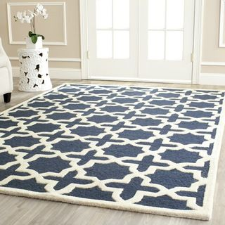 Safavieh Handmade Cambridge Moroccan Navy Wool Cotton-Canvas Backing Rug (9' x 12') | Overstock.com Shopping - The Best Deals on 7x9 - 10x14...