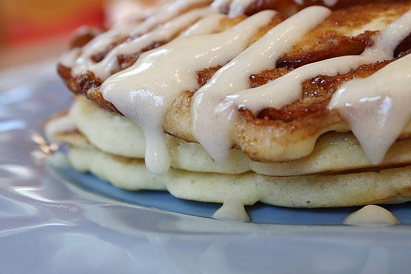 Cinnamon Roll Pancakes  @Jaime Thomason made these for us when we visited.  They were really good.  I recommend squeezing some of the cinnamon mixture on top of the finished pancakes with the icing for a real cinnamon roll flavor.: