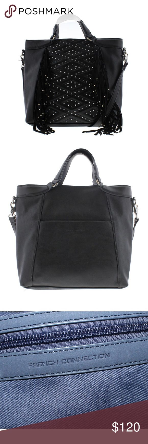 French Connection Cassidy Black Tote Handbag French Connection Cassidy Black Tote Handbag Purse Large.   Manufacturer Color: Black Condition: New with tags Style Type: Tote Bag Collection: French Connection Handle Type: Double Compartment: Open Slip Closure: Magnet Bag Height (Inches): 11 1/2 Inches Bag Width (Inches): 14 Inches Bag Depth (Inches): 3 1/2 Inches Strap Drop (Inches): 19 Inches Material: PU/Cow Suede/Cotton Fabric Type: Faux Leather Specialty: Fringe Removable Strap Included…