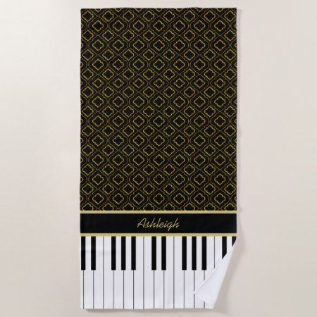 Elegant Custom Piano Keys with Gold Quatrefoil Beach Towel - #beach #towel #beachtowel #elegant #piano #gifts #musical #personalized