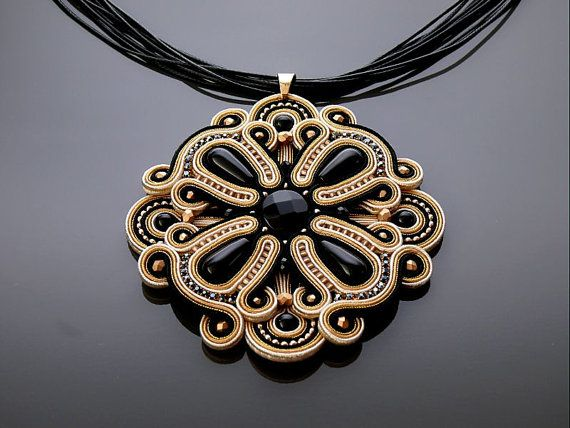 Beautiful, impressive soutache necklace, made of soutache strings with Onyx and glass beads.  Pendant have been impregnated.  Full length: 3.6 inches.  Length of string: 18 inches  Colour: black, gold, ecru and beige.     Black friday weekend  Sale 20%  Use code BLACK20 ( during checkout )   * code expires Monday, 28th…