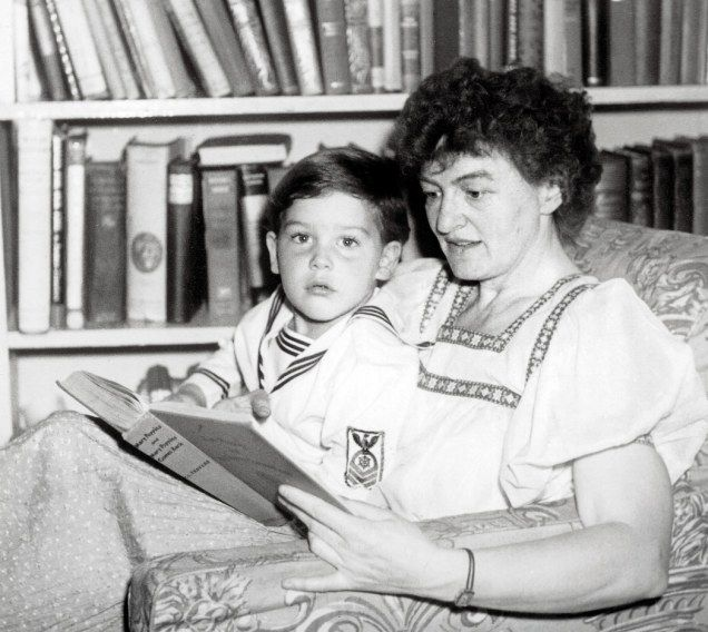Pamela Travers, the woman who wrote Mary Poppins, is pictured with her adopted son Camillus in the Forties