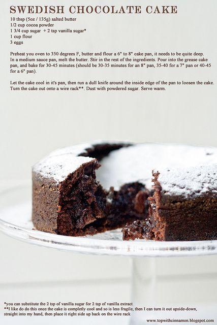 Swedish Chocolate Cake    10 tbsp (5oz / 135g) salted butter  1/2 cup (2 oz / 55g ) cocoa powder  1 3/4 cup (12.5 oz / 350g) sugar  + 2 tsp vanilla sugar*  1 cup (4.6 oz / 130g) flour  3 eggs
