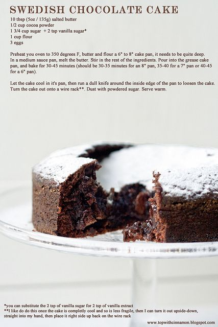 Top with cinnamon: Swedish Chocolate Cake (revisited) - 5 ingredients, 40 minutes