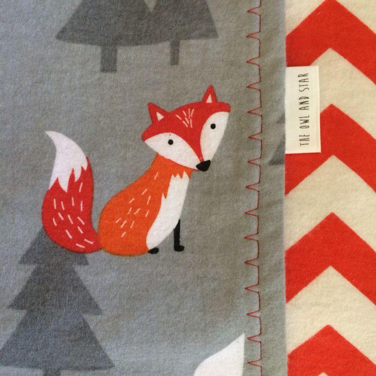 Woodland Fox & Chevron Flannelette Baby Blanket