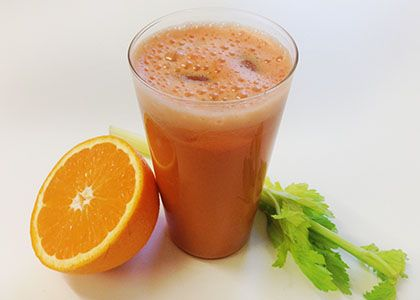 Turmeric Sweet Potato Orange Juice  1 sweet potato 2 apples 1 orange 1 carrot 4 stalks celery 3 in (7.5 cm) piece of turmeric DIRECTIONS: Wash all ingredients well. Peel the orange and sweet potato. Add all produce through juicer and enjoy!