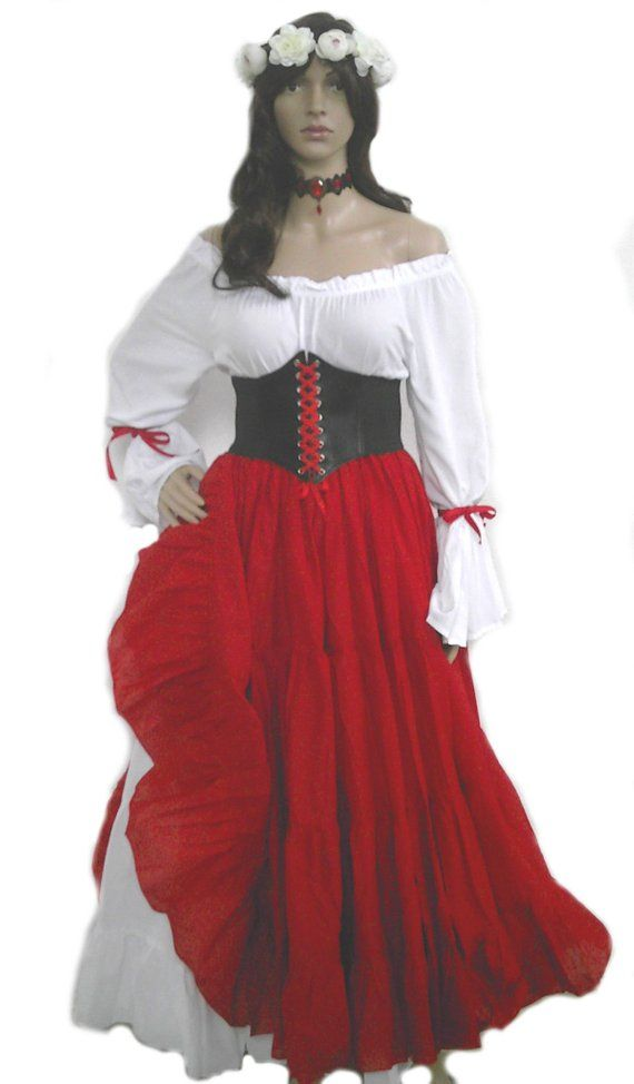 d55ddcd96d9 Renaissance Dress Corset Skirt Chemise Wench Pirate Medieval Steampunk  Costume Celtic Cosplay Fair Red Riding Hood