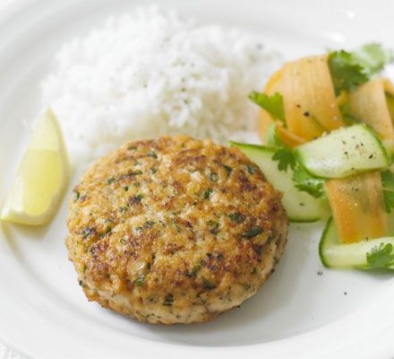 Superhealthy salmon burgers with Thai flavours from BBC Good Food.