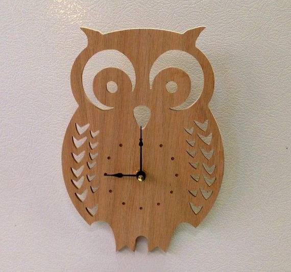 I LOVE this owl clock! Wood wall hanging decor by ParkerCompany on Etsy for only $19