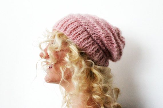 Womens Hand Knit Pink Slouchy Hat Beanie by LoveandKnit on Etsy, $35.00