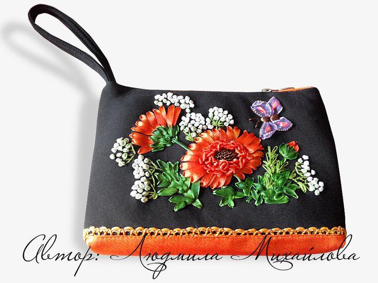 Вышивка лентами, авторский дизайн, авторский дизайн сумок, декор, вышивка лентами герберы