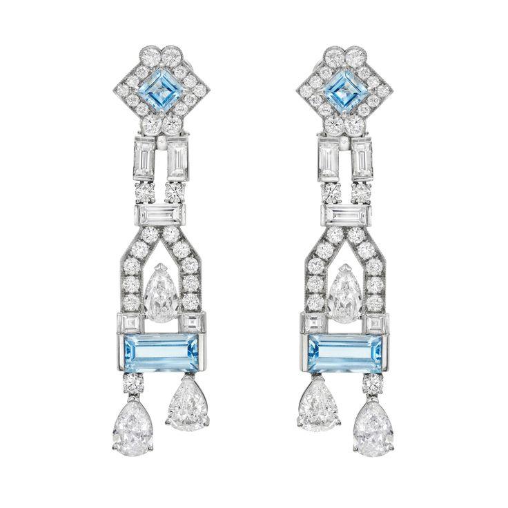Raymond C. Yard Aquamarine & Diamond Chandelier Earrings