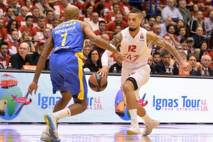 Daniel Hackett, basketball player of Olimpia Milano was wearing Nike Hyperdurk 2013 all white PE during Euroleague match against Maccabi Tel Aviv 16.4.2014