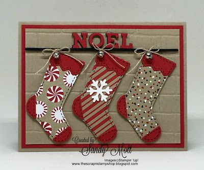 STAMPS: Hang Your Stocking. PAPER: Candy Cane Lane DSP, Real Red, Crumb Cake, Basic Black, Whisper White. OTHER: Big Shot, Christmas Stocking Framelits, Brick Wall EF, Linen Thread, Bells.