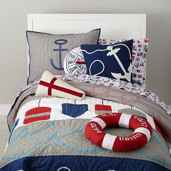 I think this nautical bedding is supposed to be for a little boy, but I don't care. I want.