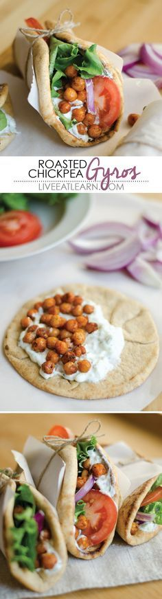 Roasted chickpea gyros! Hearty, vegetarian (with vegan options), and comes together in less than 30 minutes.