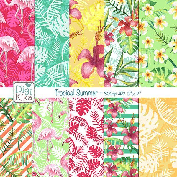 This Tropical Summer Digital Papers pack in shades of green, pink, yellow and…