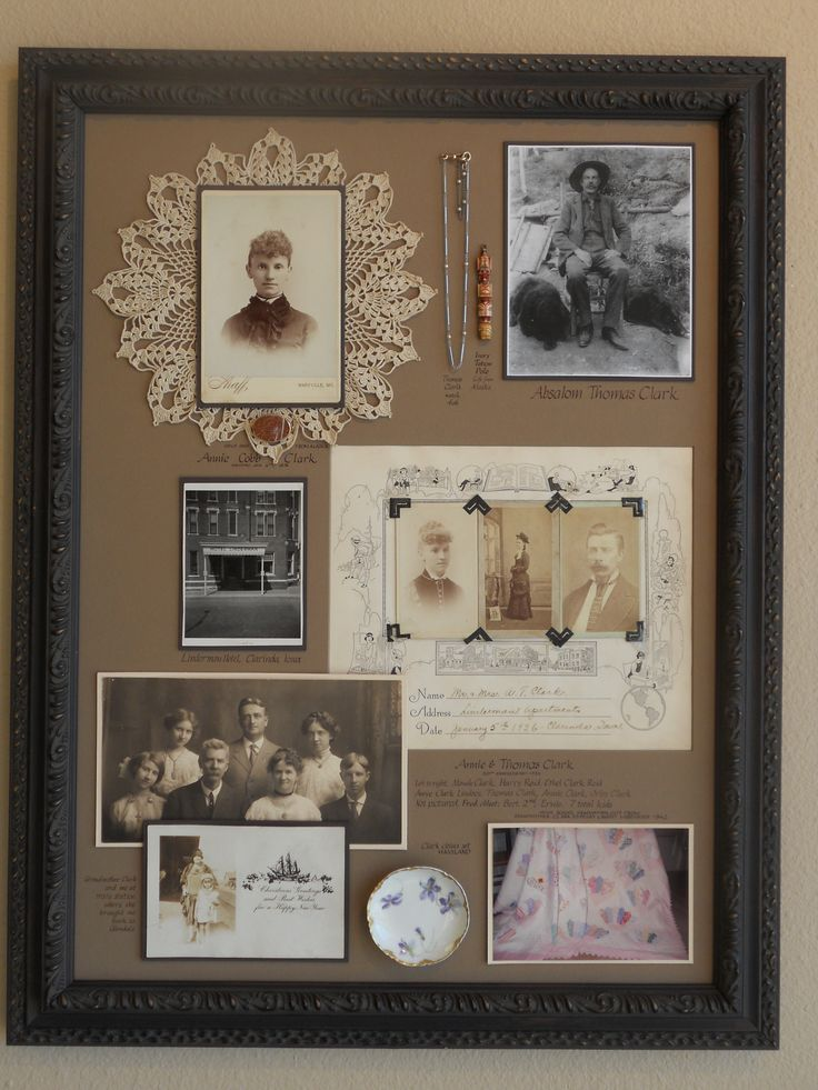 """A """"family history"""" Shadowbox Collage. We selected an assortment of important family heirloom objects, documents and photos and arranged them in a period style frame. All the objects were sewn into place, and the photos and documents were mounted using archival techniques in order to preserve these cherished items."""