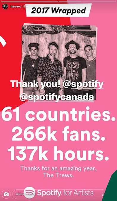 In case you missed this from the Trews on Instagram the other night...those are some impressive stats. We'd sure love to find all those fans! :)  Congratulations to the band!