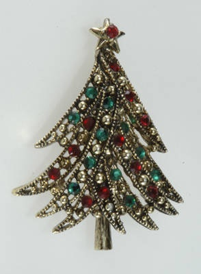 Hollycraft Red & Green Christmas Tree Pin