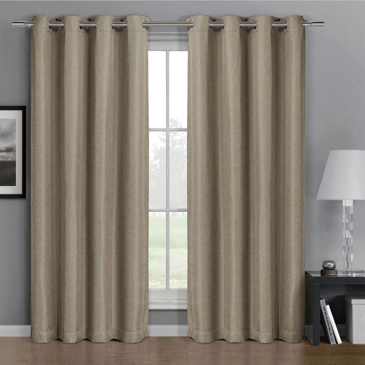 Pair of Two Top Grommet Gulfport Faux Linen Blackout Weave Thermal Insulated Curtain Panels, Triple-Pass Yarn Back Layer, Elegant and Contemporary Gulfport Blackout Panels, Set of Two Beige 52' by 96' Panels (104' by 96' Pair) -- Trust me, this is great! Click the image. (This is an amazon affiliate link. I may earn commission from it)