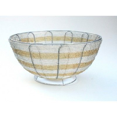Gold and Silver  Wire Beaded Art Bowl