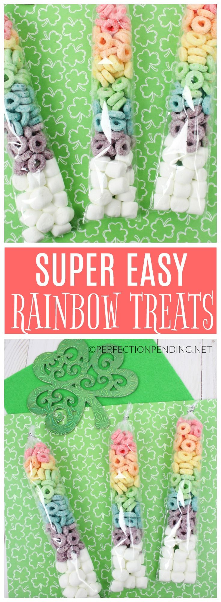 Rainbow foods are a fun way to celebrate St. Patrick's day with your kids. Whether the naughty leprechaun comes to your house, or if you just like making a fun rainbow gift idea for neighbors or friends, these DIY easy rainbow treats made with fruit loops and marshmallows are the perfect easy idea for a fun snack, activity or gift for kids. Preschoolers will love helping you put these rainbow treats together, or it can be a fun rainy day activity, or rainbow party favor too. #stpatricksday…