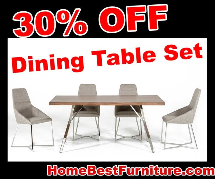 30 PERCENT OFF Discount Modrest Stark Modern Walnut Stainless Steel Dining Table SET